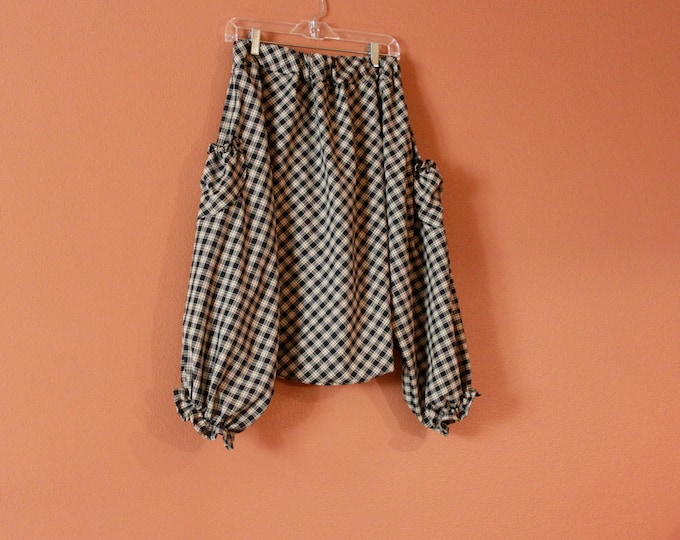 made to order ruffle chipmunk harem pants in large check print black and cream / harem pants / low crotch pants / fisherman pants /