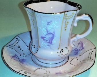 Vintage Pink Porcelain Teacup and Saucer Set - with Bluebell Flowers