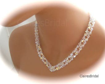Bridal Jewelry Swarovski Crystal V Necklace Wedding Jewelry For Brides