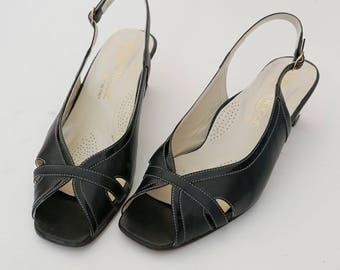 Vintage black leather shoes size 38 IT Made in Italy Heel 3 cm OOAK