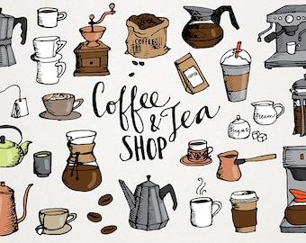 Coffee & Tea Clip Art - hand drawn clipart, cross hatch sketched, coffee shop clipart, coffee scrapbooking art, tea house clipart, cafe menu