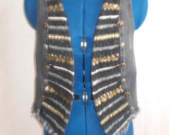 well funky Vintage waistcoat,,with unusual braided front Size small 8/10..