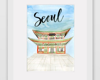 Around the World Watercolor Prints - Seoul