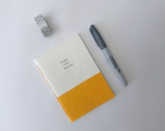 personalised notebook, personalised stationery, handstitched note book, blue, green, yellow, pink, small gift, stocking filler