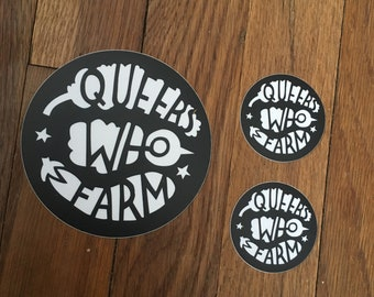 """QUEERS WHO FARM vinyl sticker 2"""" or 4"""" from queerswhofarm"""