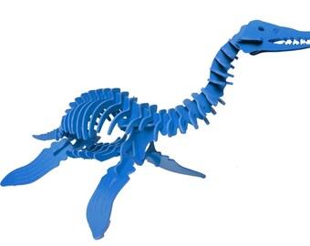 Dinosaur Puzzle, Dinosaur Toy, 3D Dinosaur Skeleton Puzzle, Recyclable PVC Plesiosaurus Dinosaur Puzzle Toy BLUE, Eco-Friendly