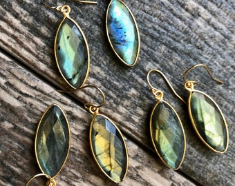 Labradorite Earrings,Gold Labradorite Earrings,Labradorite Gold Earrings,Gift,Labradorite Gold,Gemstone Gold Earrings,Jewelry Gift for Wife