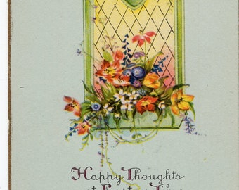 Easter vintage postcard, Happy Easter Vintage Postcard Stained Glass, Easter Flowers, great colors