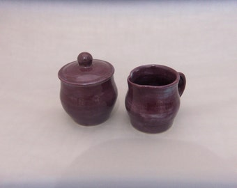Sugar Bowl/ Creamer Set - Purple Handmade -Pottery - Stoneware - Ceramic - Handmade Pottery
