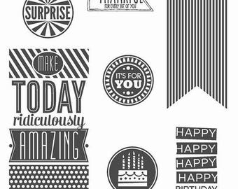 Stampin' Up Amazing Birthday retired new clear mount stamp set