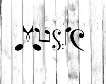Music Text out of Musical Notes - Car/Truck/Home/Laptop/Computer/Phone Decal