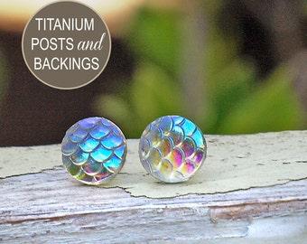 Iridescent Mermaid Scale Studs on Titanium Posts, Shimmer Earrings, 10mm, Clear Rainbow Dragon Scale Studs, Minimal Stud Earrings