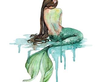 """Mermaid Painting, Watercolor Painting, Mermaid Print, Mermaid Decor, Mermaid Art, Nursery Art, Ocean Art, Beach, Print titled, """"The Mermaid"""""""