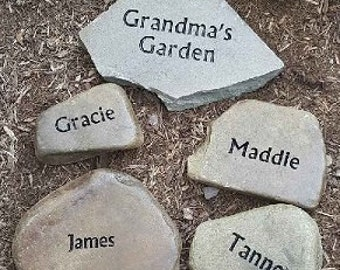 Mothers Day; Grandma's Garden Stone with all of her grandkid's mini stones, unique gift for mom or dad