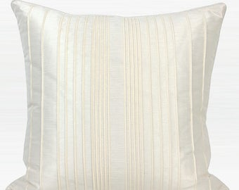 """Luxury White Striped Textured Pillow Cover 20""""X20"""""""