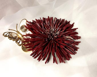 Genuine leather flower brooch, burgundy aster brooch, flower pin, leather accessories, leather anniversary, corsage flower, bridesmaid gift