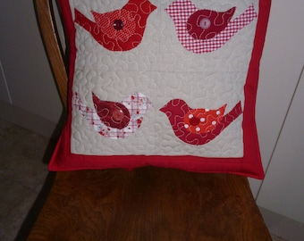 love bird appliqued cushion