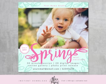 Spring Mini Session Template, Easter Mini Sessions, Marketing Board, Photoshop Template, Photography Marketing Set, PSD, pink title