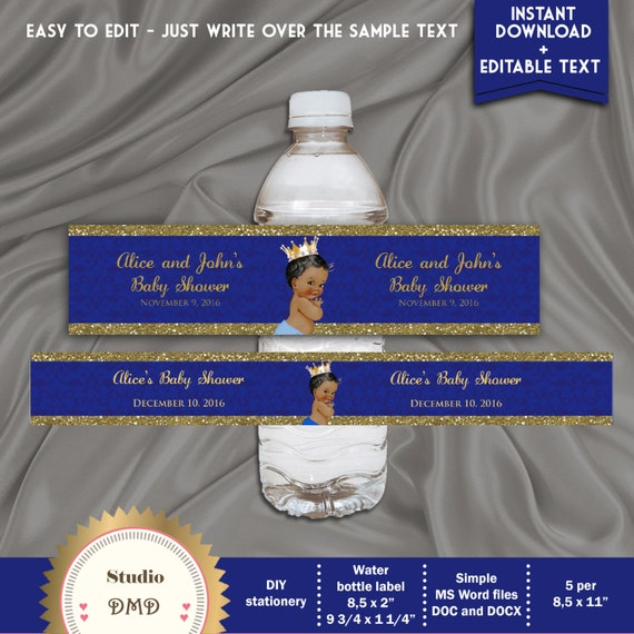 Printable Baby Shower Water Bottle Labels Little Prince Baby