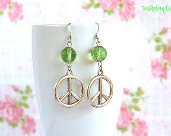 Crystal Earrings, Green Earrings, Statement Earrings, Boho Earrings, Hippie Earrings, Gypsy Earrings, Boho Jewelry, Drop Earrings, Boho Chic