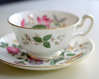 Tea Cup and Saucer, Wedgwood, Bone China, Charnwood, W D 3984, Red Roses and Butterflies