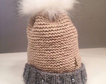 Cap wool two-tone cashmere Merino