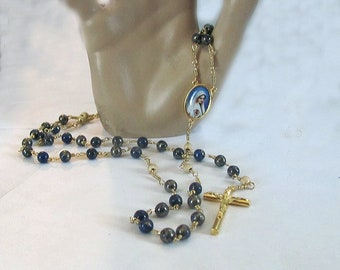 Lapis Lazuli Gold Tone Rosary