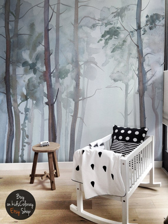 Nature forest wall mural peel and stick gloomy trees for 3d wallpaper for baby room
