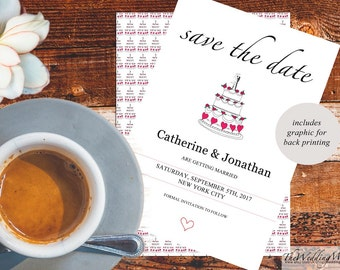 Save the Date Card Template Printable Wedding Card save-the-date Instant Download Editable PDF Template Digital Printable Save Date Cake01
