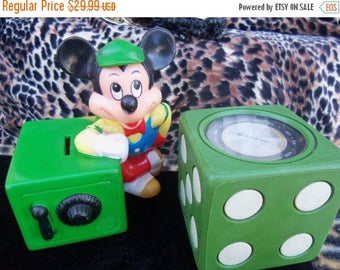 ON SALE Vintage Mickey Mouse Bank Made in Korea 1960's Home Decor Display Collectible Figurine Childs Toy