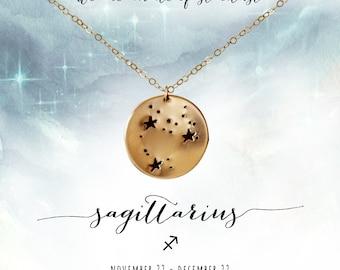 Sagittarius Necklace, Sagittarius Constellation Necklace, Sagittarius Necklace Gold, Zodiac Constellation Necklace, Sagittarius Jewelry