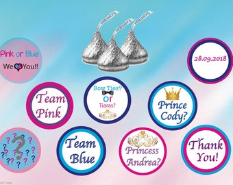 Gender reveal Hershey's kiss stickers-  Baby shower stickers- personalized Hershey's kisses, custom hershey's kiss stickers- Pink Blue Party