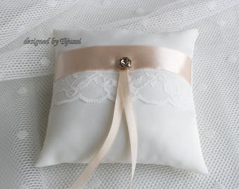 Can be made by order ring bearer pillow with lace and satin ribbon- ring bearer pillow, wedding pillow , ring bearer, ring cushion