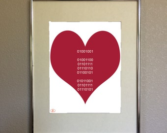 Red Valentine Binary Heart