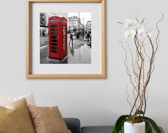 London Telephone Booth Print.  Black and White photography, UK, red, decor, wall art, artwork, large format photo.