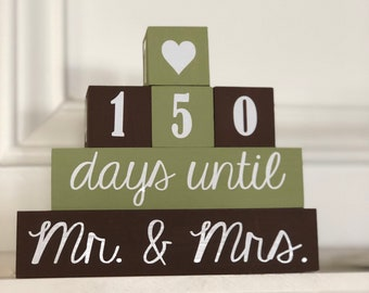 Wedding countdown blocks, engagement gift, Mr. and Mrs., bride's gift, countdown days until Mr. Mrs.  custom countdown