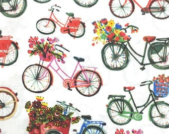 Cotton fabric organic US - Windham Fabrics designer Carolyn Gavin - Flower Pedals Bicycles - by 50cm (110 x) - the curl fabrics