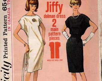 1965 VINTAGE SIMPLICITY PATTERN. Dress. 5886 Size 14 Bust 34