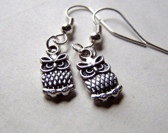 Silver Owl Earrings Small Tiny Cute Little Owl Jewelry