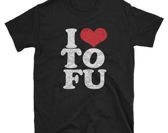 I LOVE TOFU Herbivore Tshirt - I Heart Tofu - Vegan Love - Mens T-Shirt