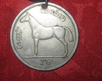 Authentic Rare Vintage Irish Horse Harp Coin Pendant