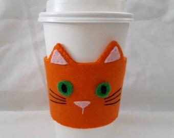 Orange Kitty Cat Felt Coffee Cozy Hand Sewn