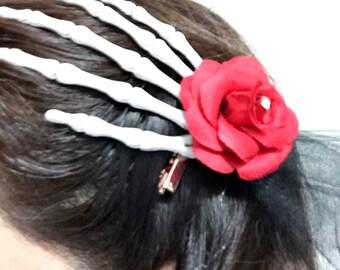 skull hand hair clip