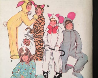 """1972 uncut McCalls pattern #3355, boy/girl/child size 8, chest 27"""", easy animal costumes, tiger, mouse, cat w/ detachable headpiece"""