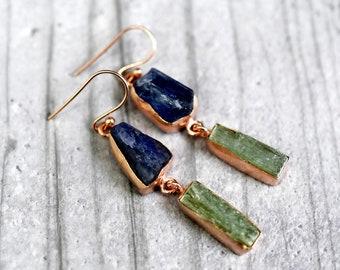 925/18k rose gold earrings Kyanite & Prehnite