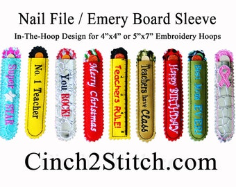 Emery Board / Nail File Sleeve - In The Hoop - Machine Embroidery Design Download (4x4 or 5x7 Hoop)