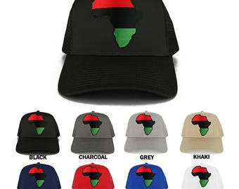 Red Black Green Africa Map Embroidered Iron on Patch Adjustable Trucker Mesh Cap (30-287-AFRICA-7)