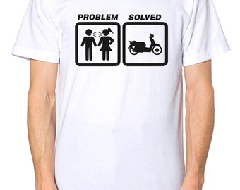 Problem Solved SCOOTER T Shirt Funny Birthday Present Gift Mens kids Top