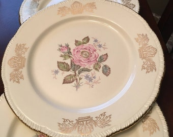 Homer Laughlin - Queen Esther Luncheon Plate / Dinner Plate - Set of 6 - Made in USA