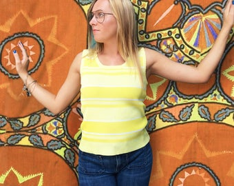 Vintage 1970's Ribbed Yellow Striped Tank Top